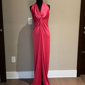 NWT - Halston Raspberry Halter Gown